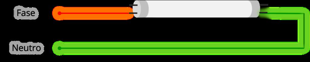Cambiar a iluminación LED tubos fluorescentes ejemplo circuito 2 eliminamos el cebador y la reactancia