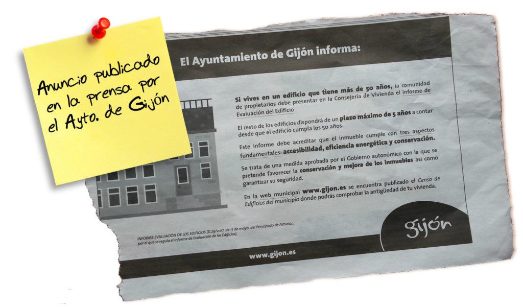 Anuncio en prensa sobre los IEE en Gijon