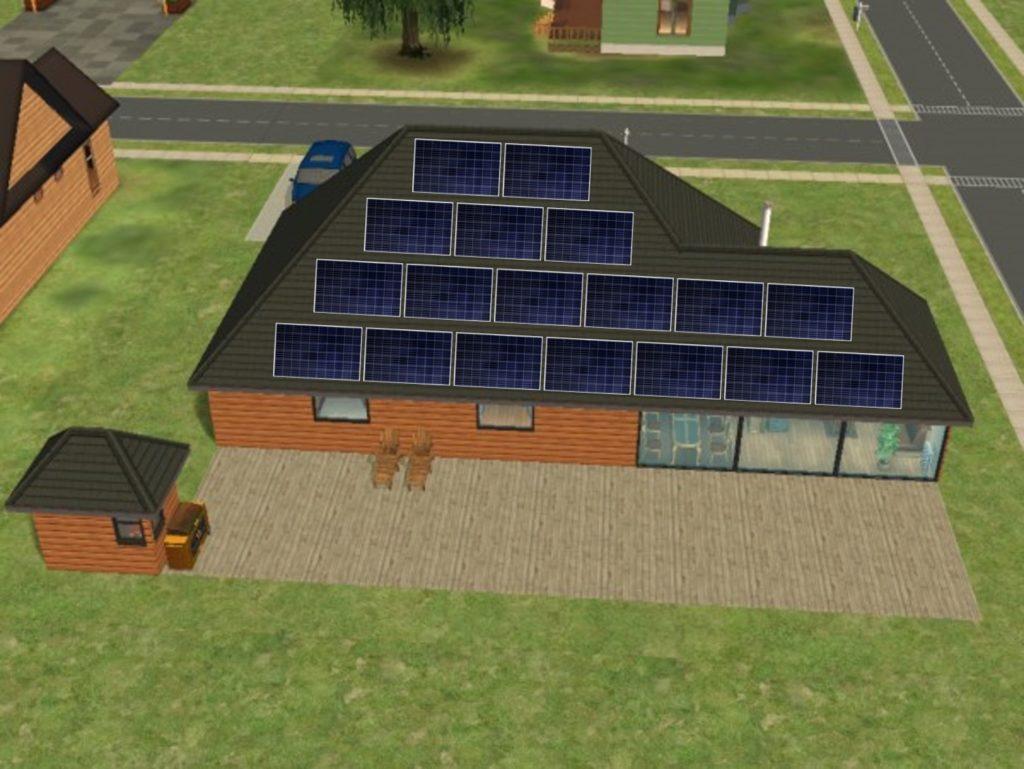 Paneles Solres sobre el tejado de una vivienda unifamiliar